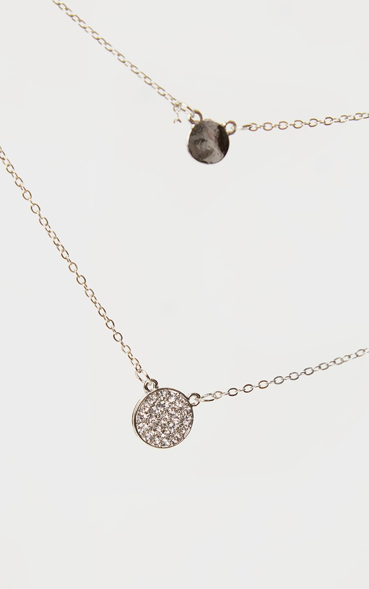Silver Double Drop Layering Necklace 3