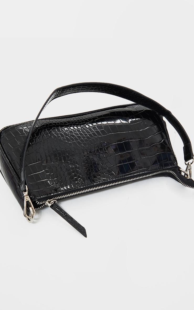 Black Croc Shoulder Bag 3