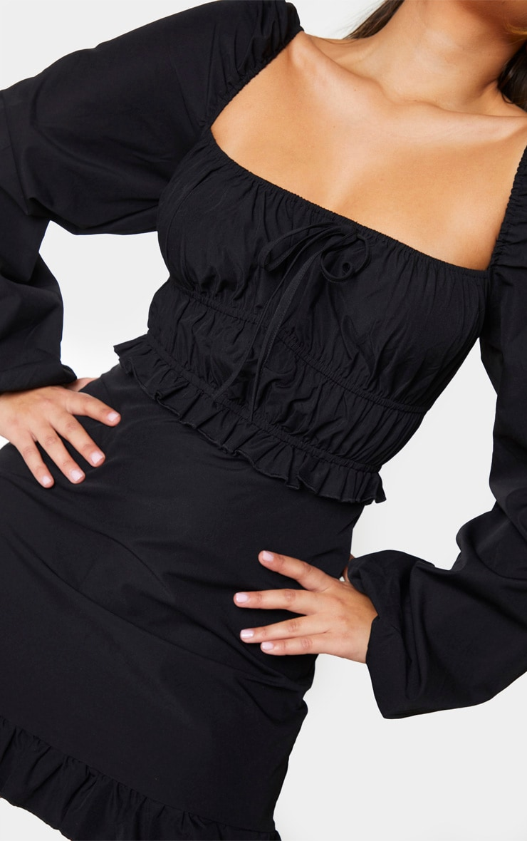 Black Woven Ruched Frill Detail Tea Dress 4