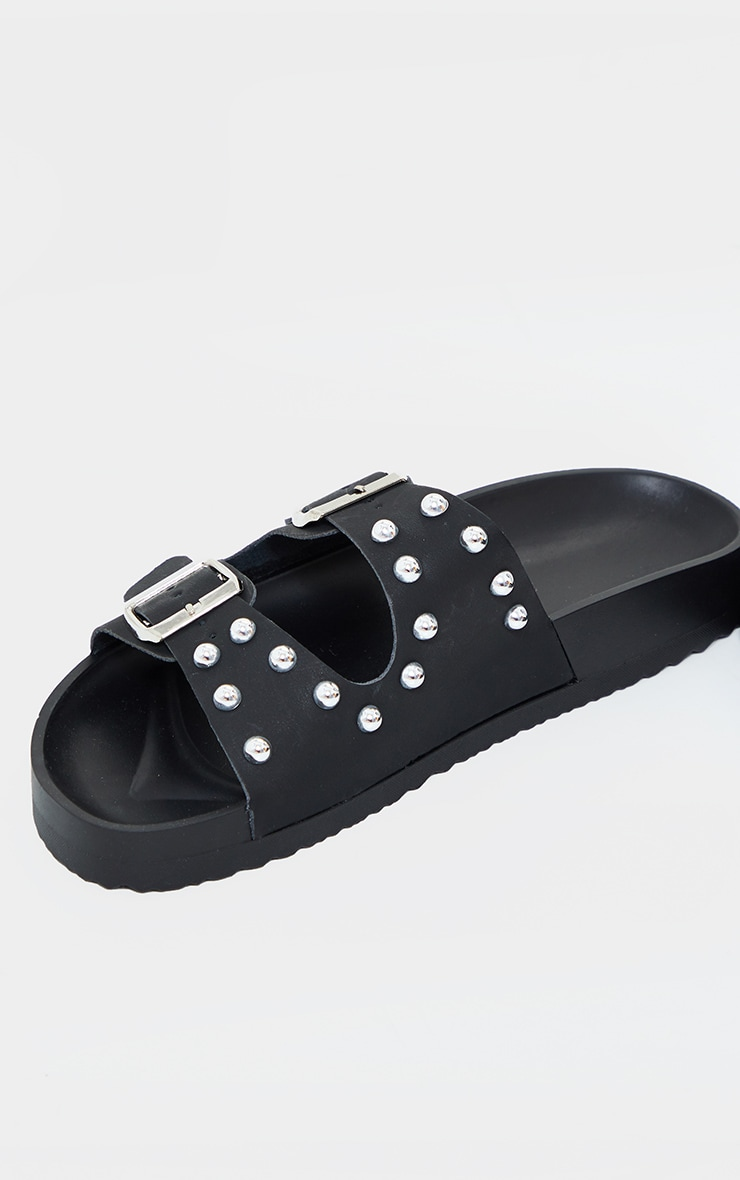 Black Pu Studded Twin Strap Buckle Trim Footbed Sandals 3