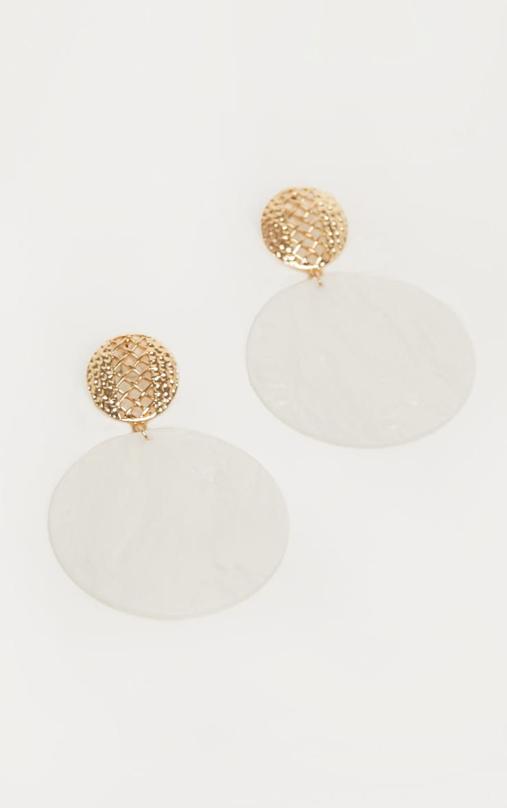 White Marble Circle Drop Earrings 2