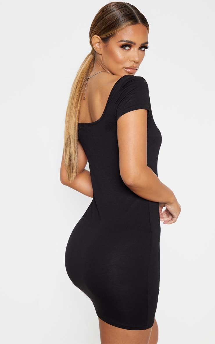 Petite Black Cap Sleeve Mini Dress 2