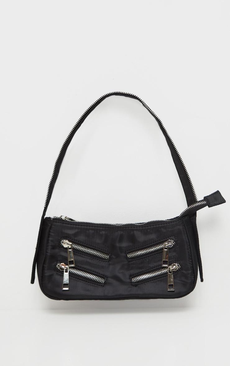 Black Satin Front Zip Detail Shoulder Bag 2