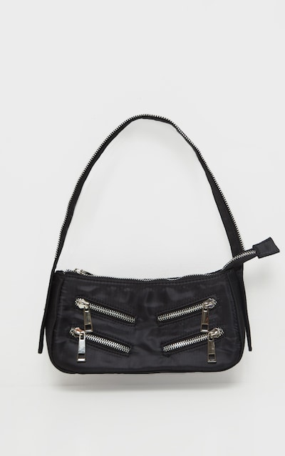 Black Satin Front Zip Detail Shoulder Bag