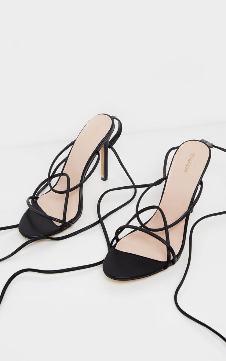 Black Strappy Tie Sandal 3