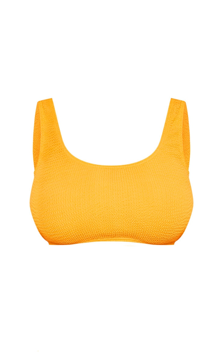 Orange Fuller Bust Crinkle Deep Scoop Bikini Top 4