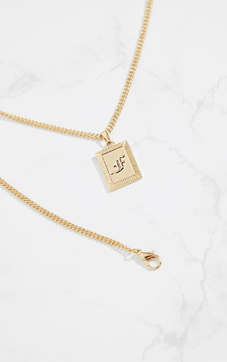 Gold Square Letter F Pendant Necklace 4