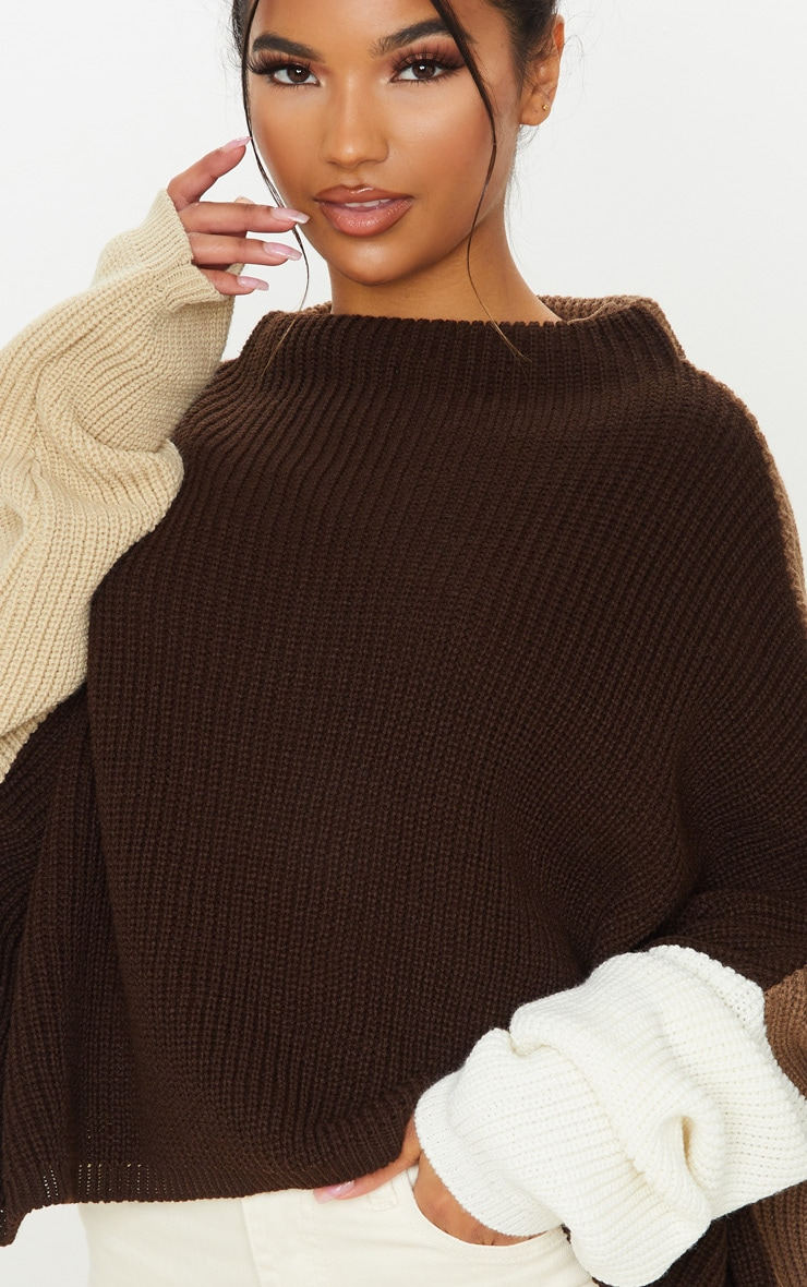 Brown Oversized Colour Block Knitted Jumper  5