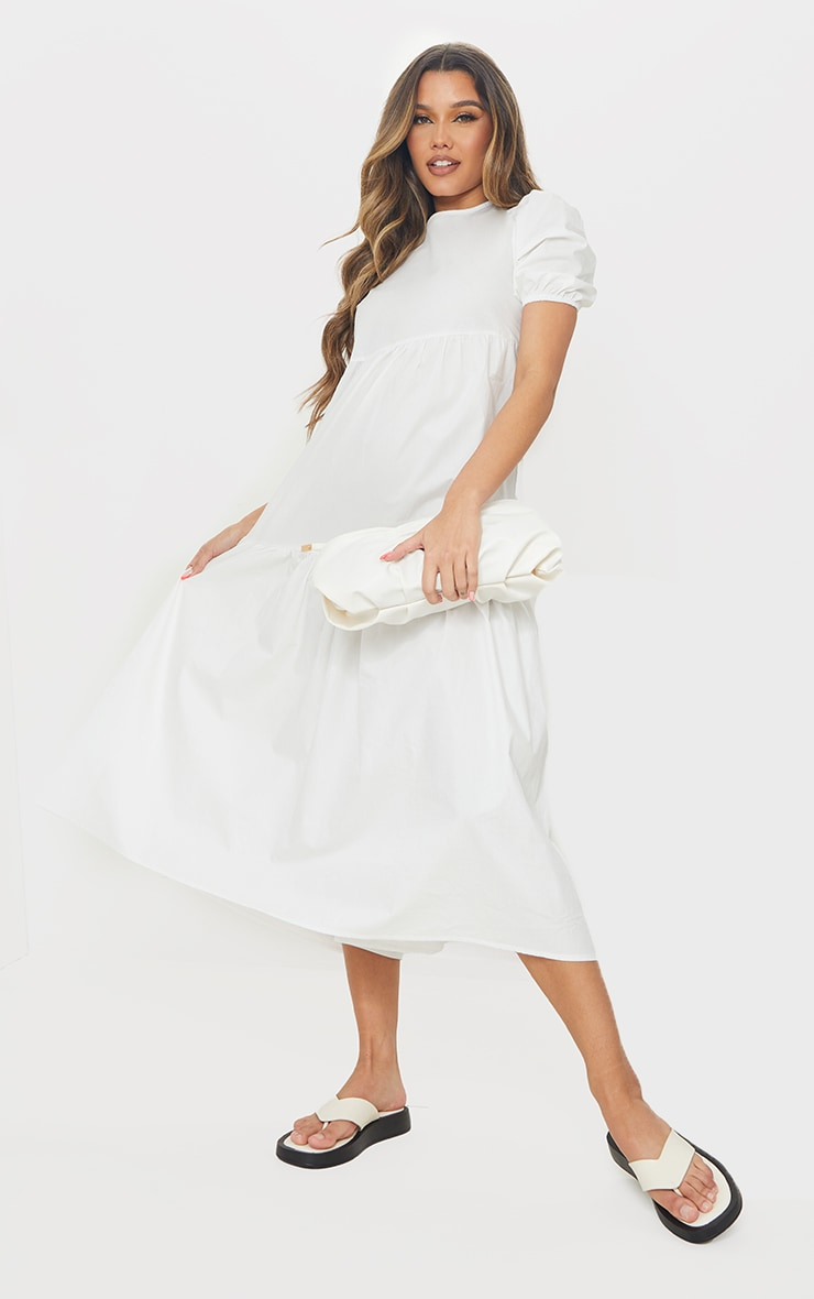 White Cotton Tiered Drop Hem Short Sleeve Midi Smock Dress 3