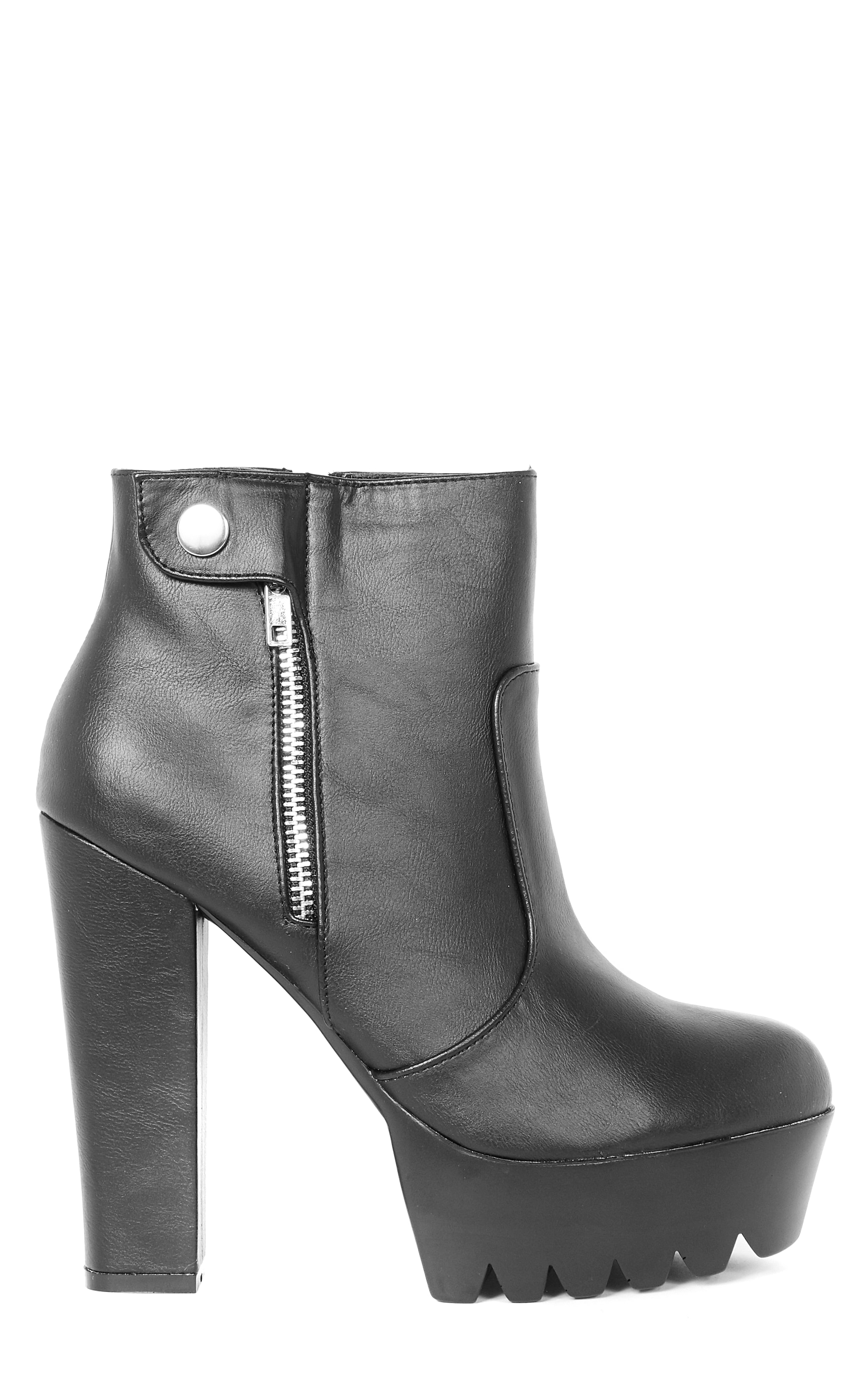Liberty Black Cleated Sole Zip Detail Boot  5