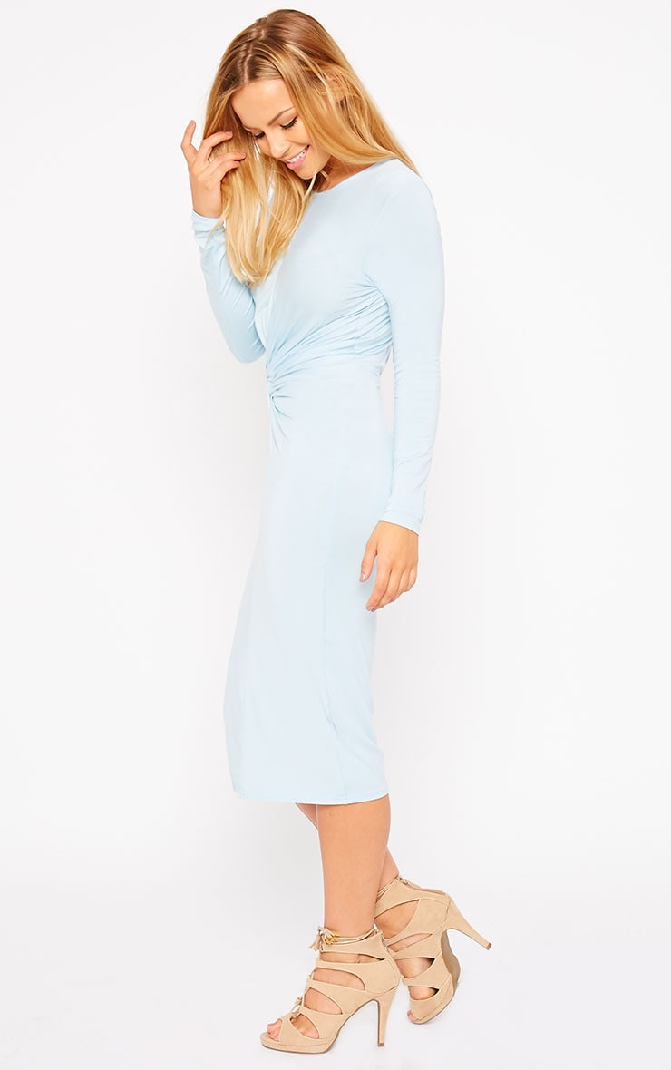 Kenna Powder Blue Knot Front Midi Dress 4
