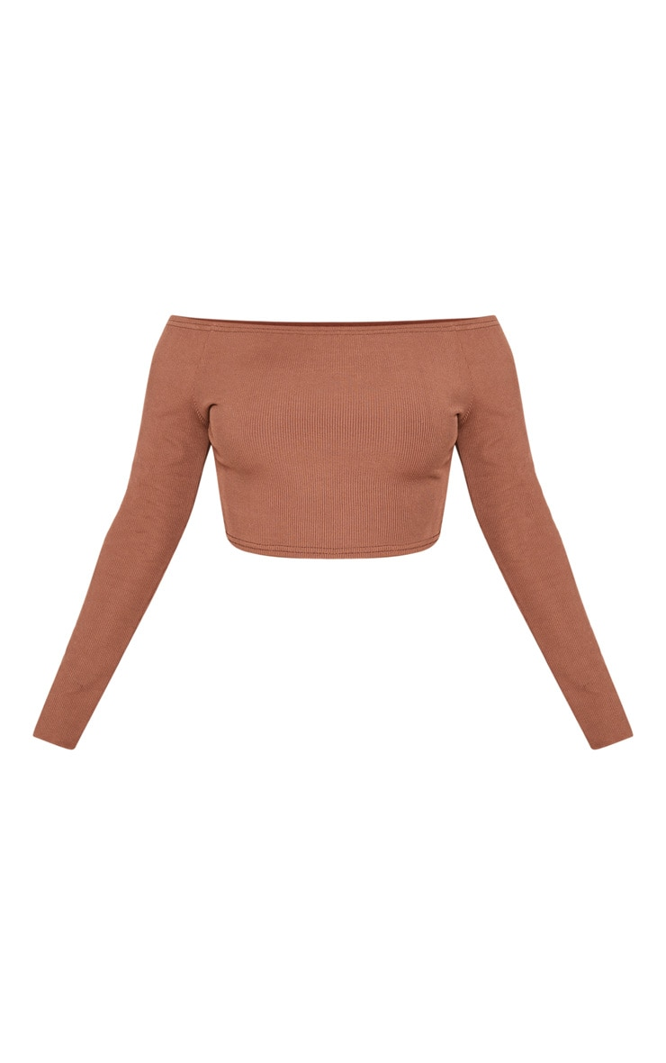 Shape Chocolate Brown Ribbed Bardot Long Sleeve Crop Top 3