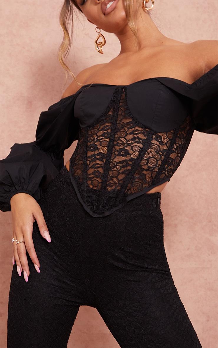 Black Woven Cup Bardot Long Sleeve Lace Corset Top 4