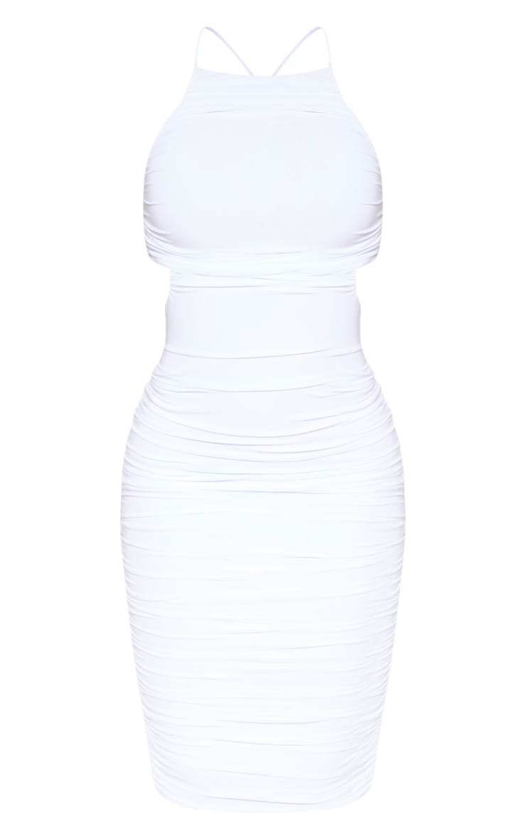 White Slinky Ruched Cross Back Midi Dress 3