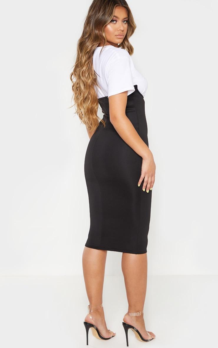 Black Scuba Bustier Midi Skirt 2