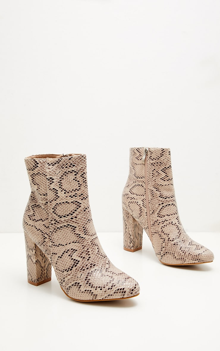 Snake Faux Leather Ankle Boot  3