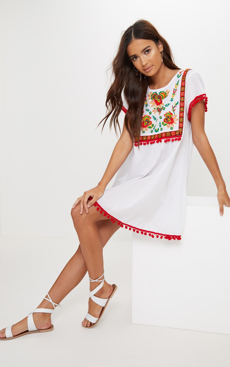 White Embroidered Pom Pom Trim Smock Dress 4