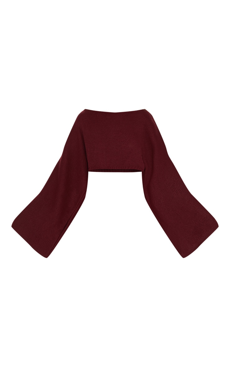 Burgundy Knitted Wide Sleeve Jumper  3
