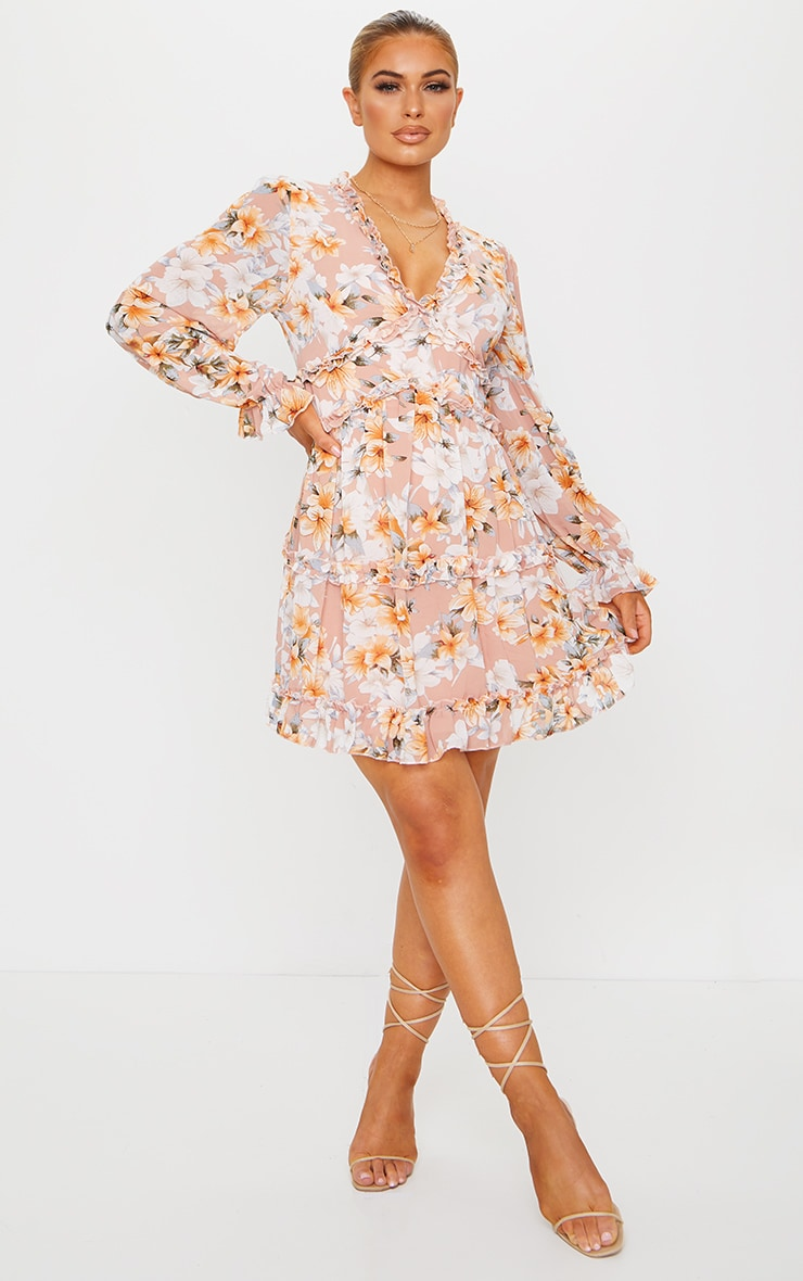 Peach Floral Frill Smock Dress 3