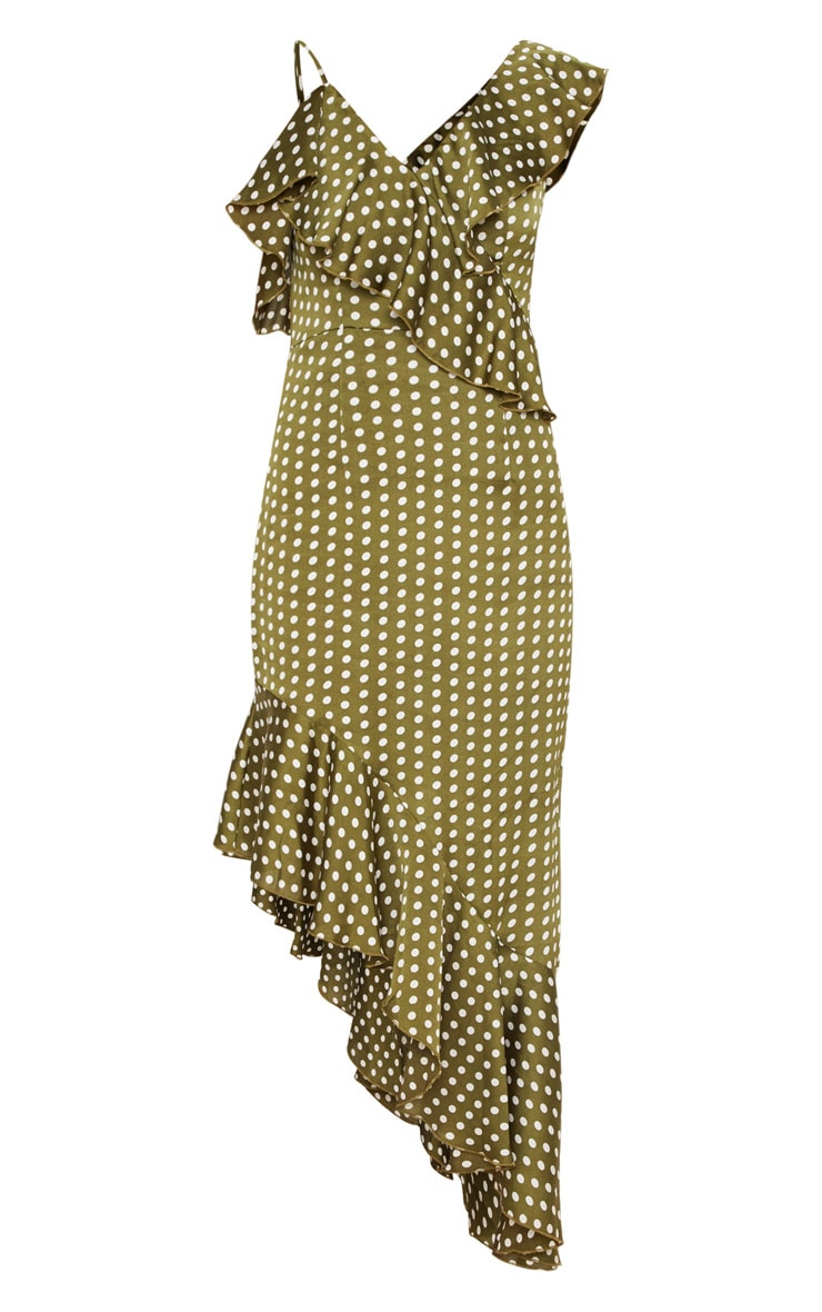 Sage Green Polka Dot Asymmetric Hem Maxi Dress 3