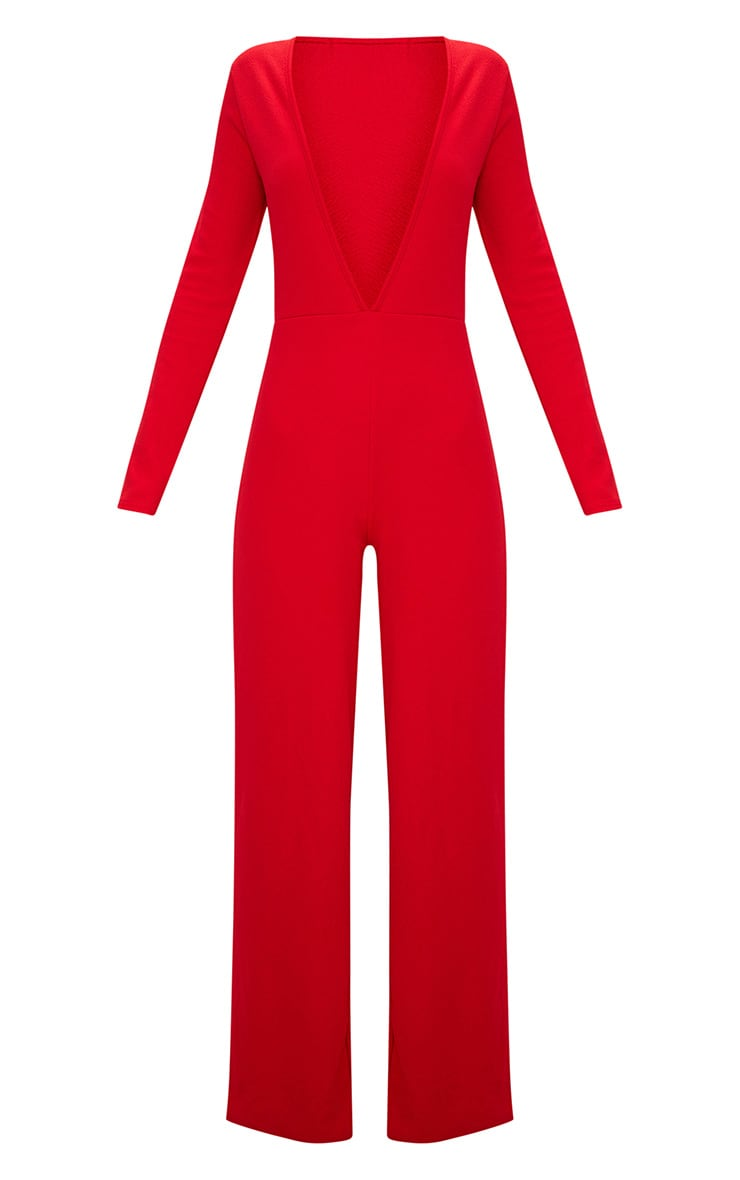 Red Crepe Long Sleeve Plunge Jumpsuit  3