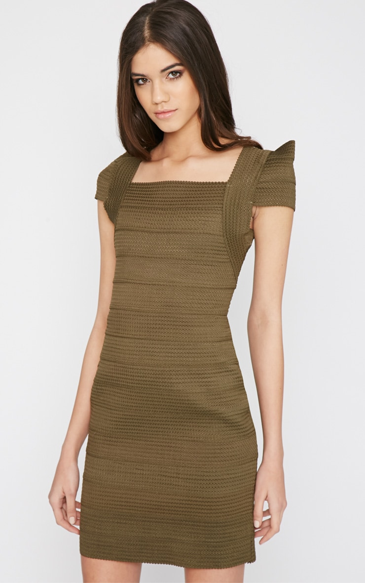 Taura Khaki Bandage Dress 3