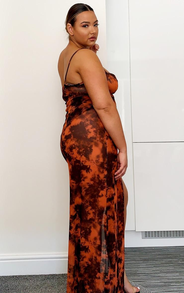 Plus Black Tie Dye Mesh Maxi Dress 3
