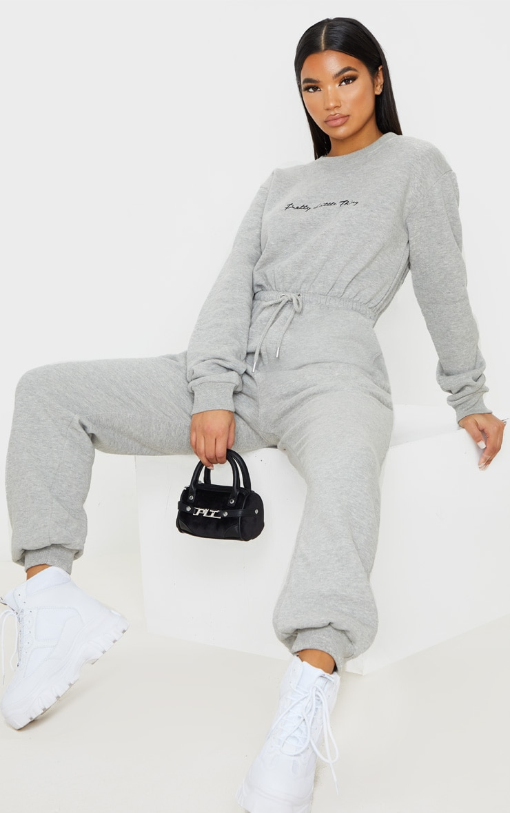 PRETTYLITTLETHING Grey Embroidered Sweat Jumpsuit 4
