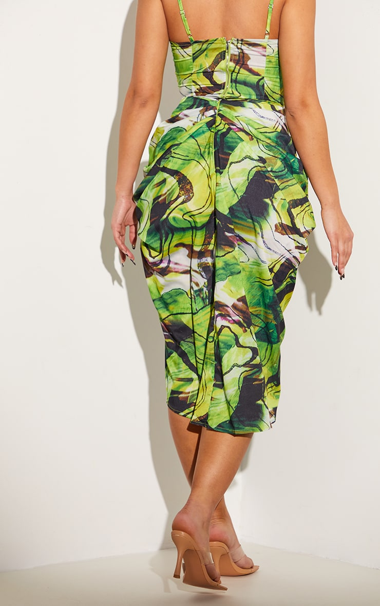 Green Abstract Swirl Ruched Side Midi Skirt 3