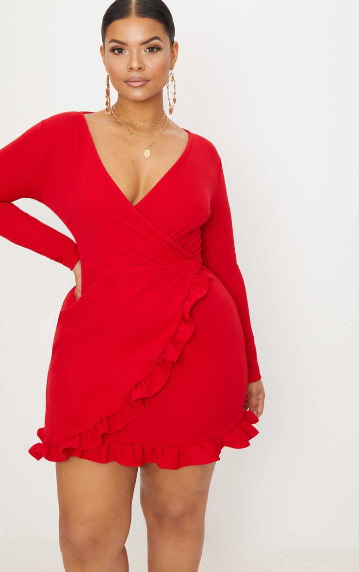Plus Red Ruffle Detail Wrap Dress