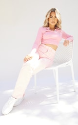 Petite Pink Sheer Knit Button Up Collared Top 3