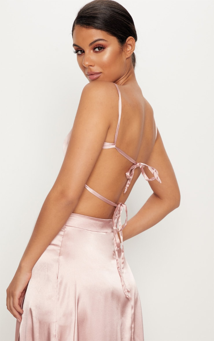 Rose Gold Satin Backless Strappy Crop Top 2