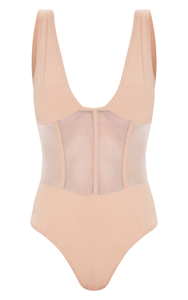 Camel Mesh Detail Caged Bodysuit 3
