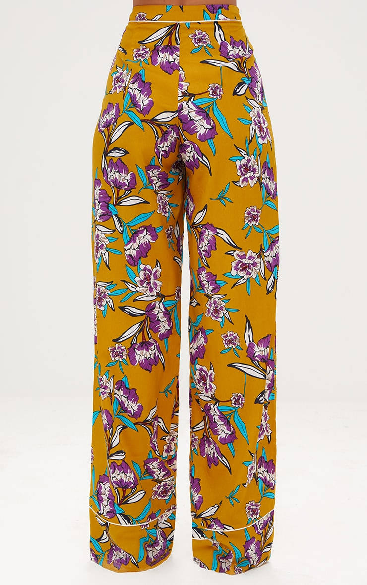 Mustard Contrast Piping Floral Wide Leg Trousers 4