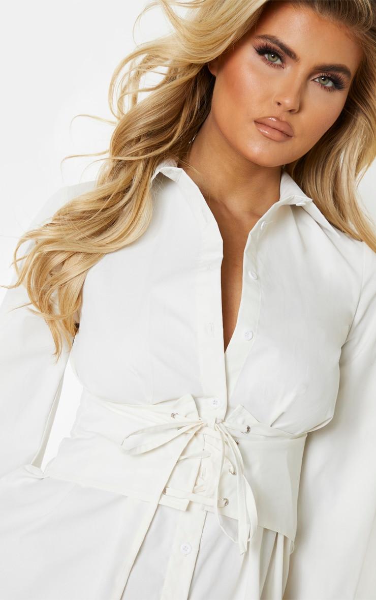 Tall - Robe chemise crème à détail corset 5