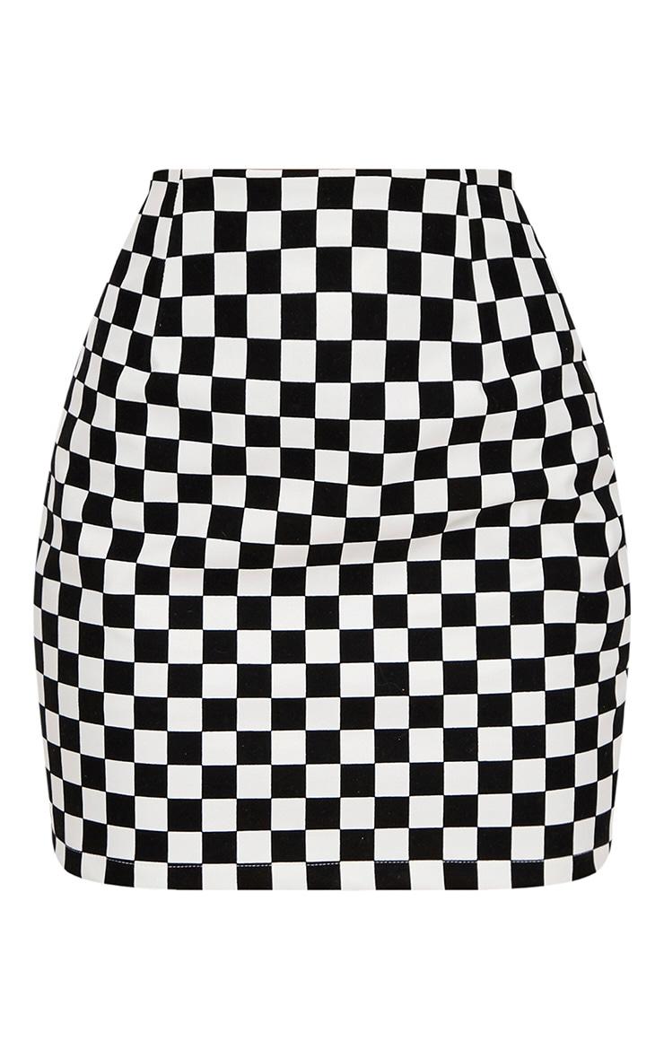 Monochrome Faux Leather Checkerboard Mini Skirt  3