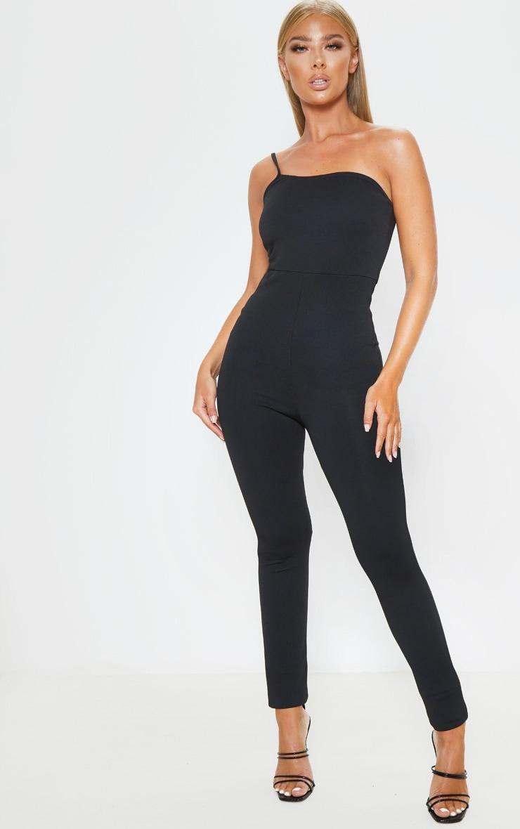 Black One Shoulder Sleeveless Jumpsuit 1
