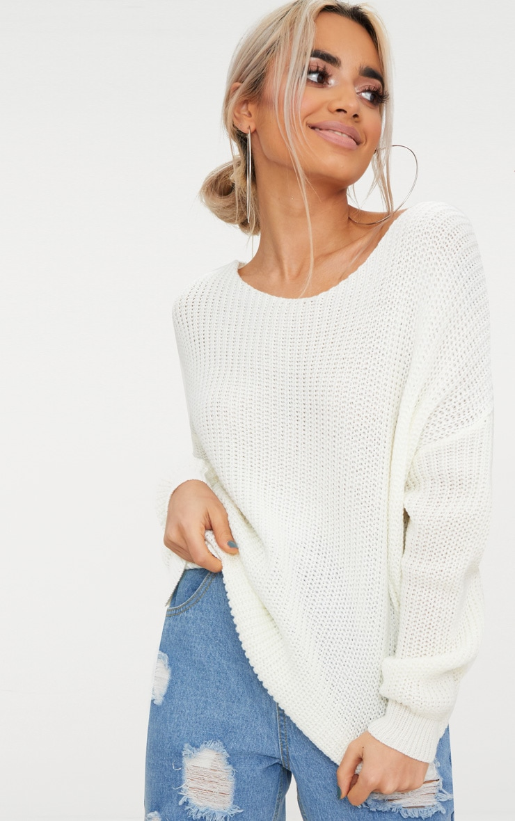 Cream Twist Back Jumper 2