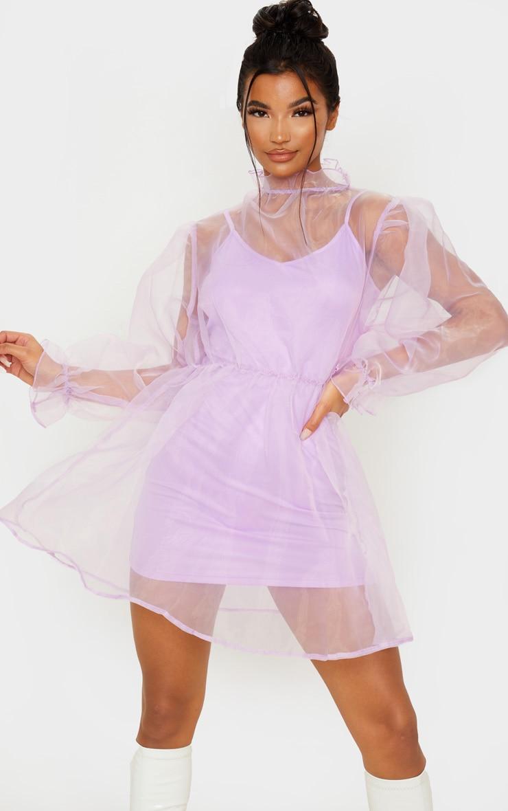 Lilac Organza Puff Sleeve Smock Dress 1