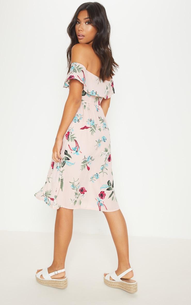 Robe mi-longue rose cendré imprimé floral avec encolure bardot et boutons devant 2