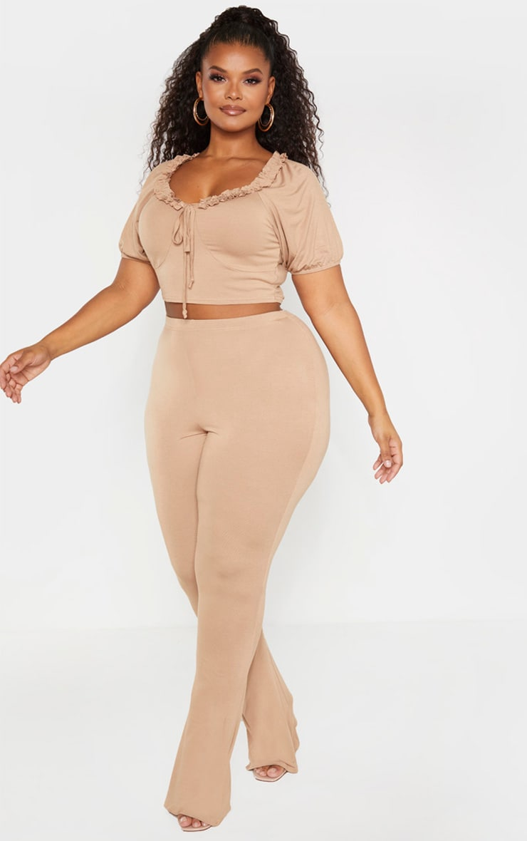 Plus Camel Jersey Flared Pants 1