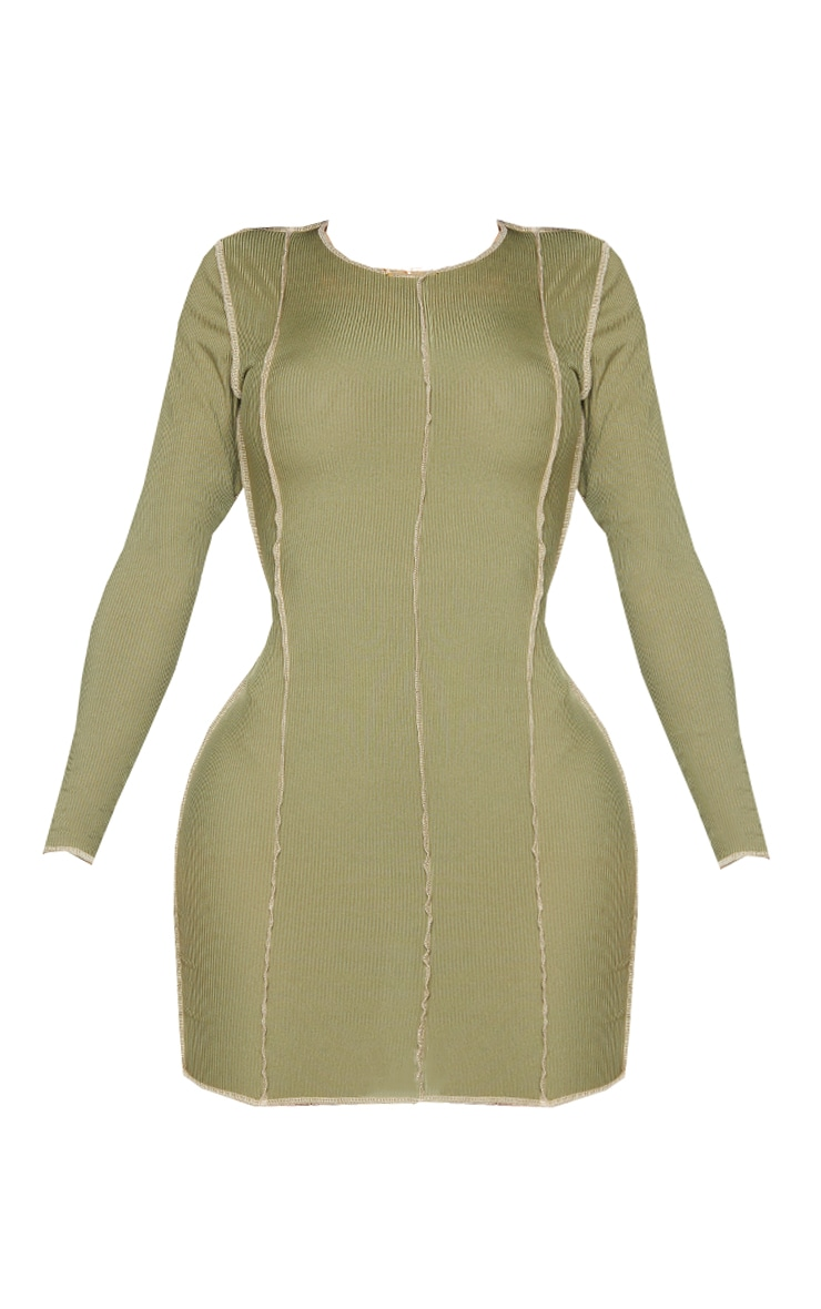 Shape Khaki Rib Overlock Seam Detail Bodycon Dress 5