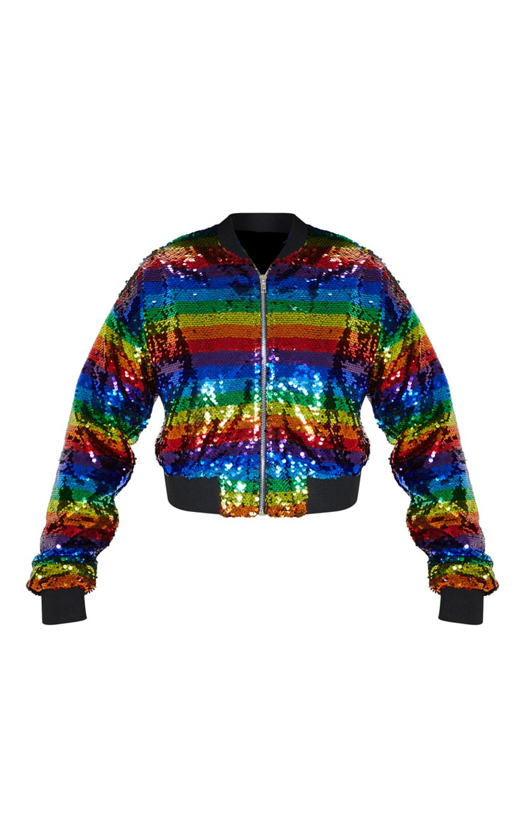 Multi Sequin Stripe Bomber Jacket  3