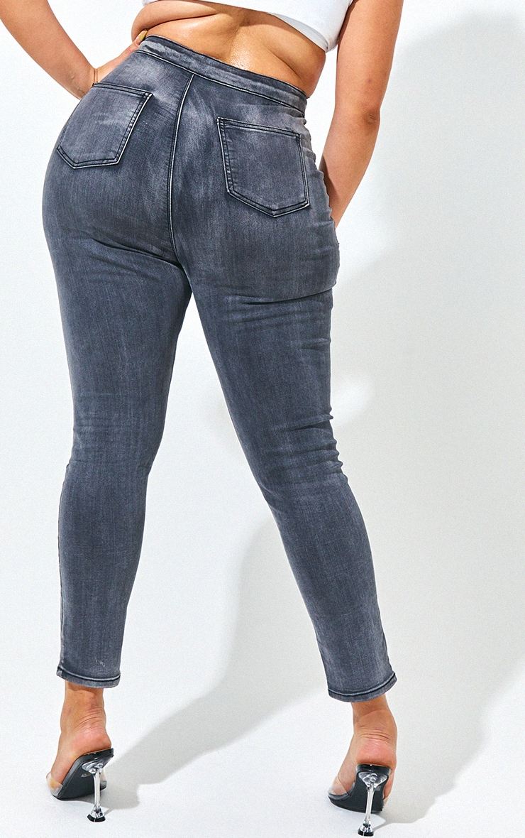 PRETTYLITTLETHING Plus Washed Black Disco Skinny Jean 3