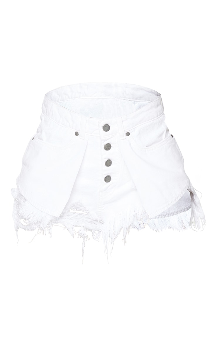 Shape White Inside Out Ripped Denim Shorts 6