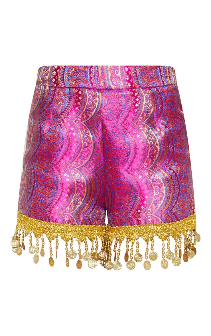 Fuchsia Paisley Coin Trim High Waisted Shorts 3