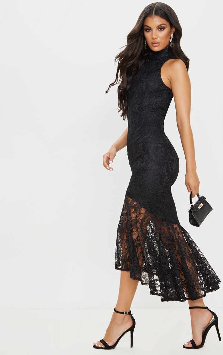 Black Lace High Neck Fishtail Midaxi Dress 4