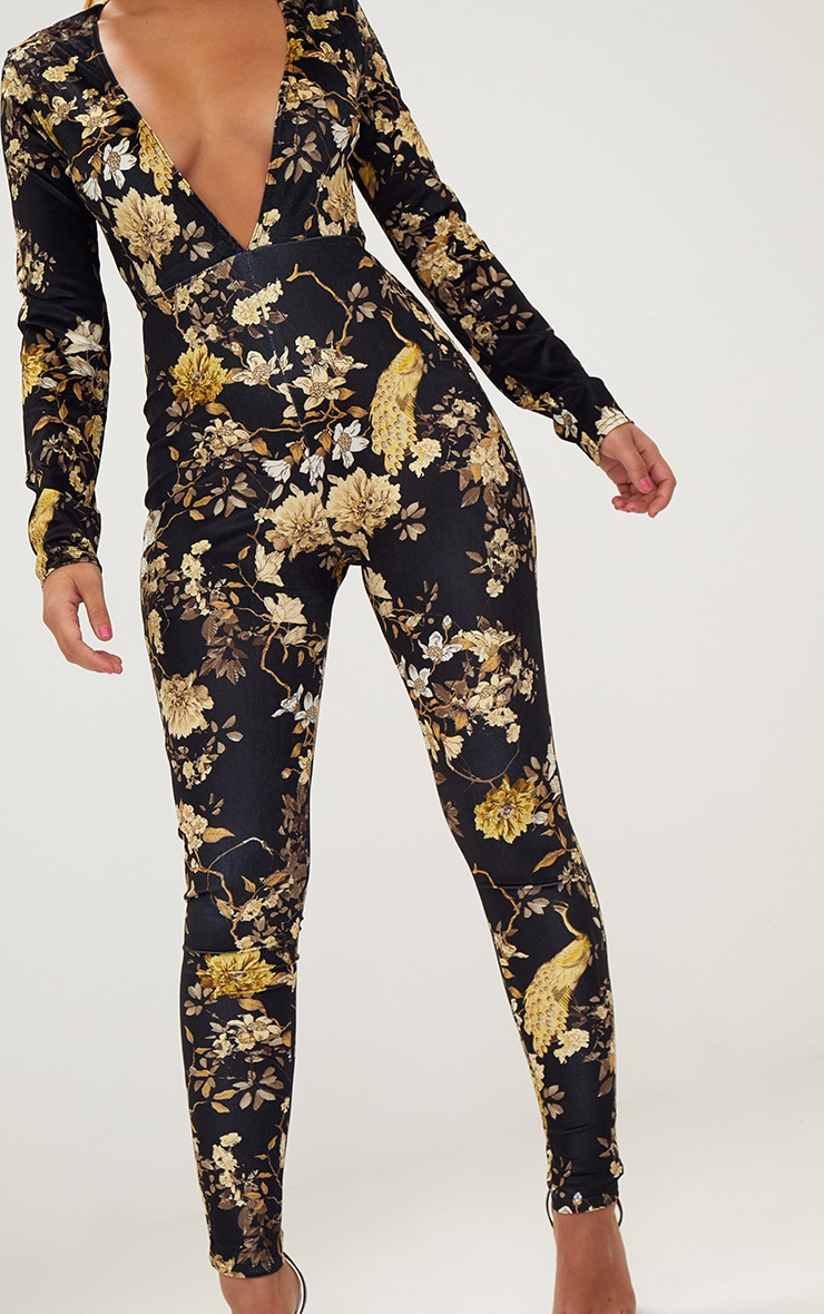 Black Floral Velvet Jumpsuit  4