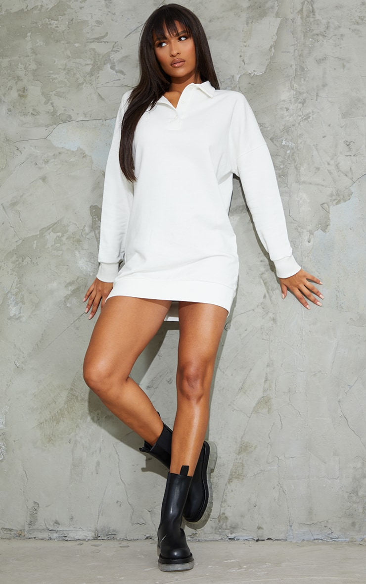 Ecru Polo Collar Detail Button Up Jumper Dress 3