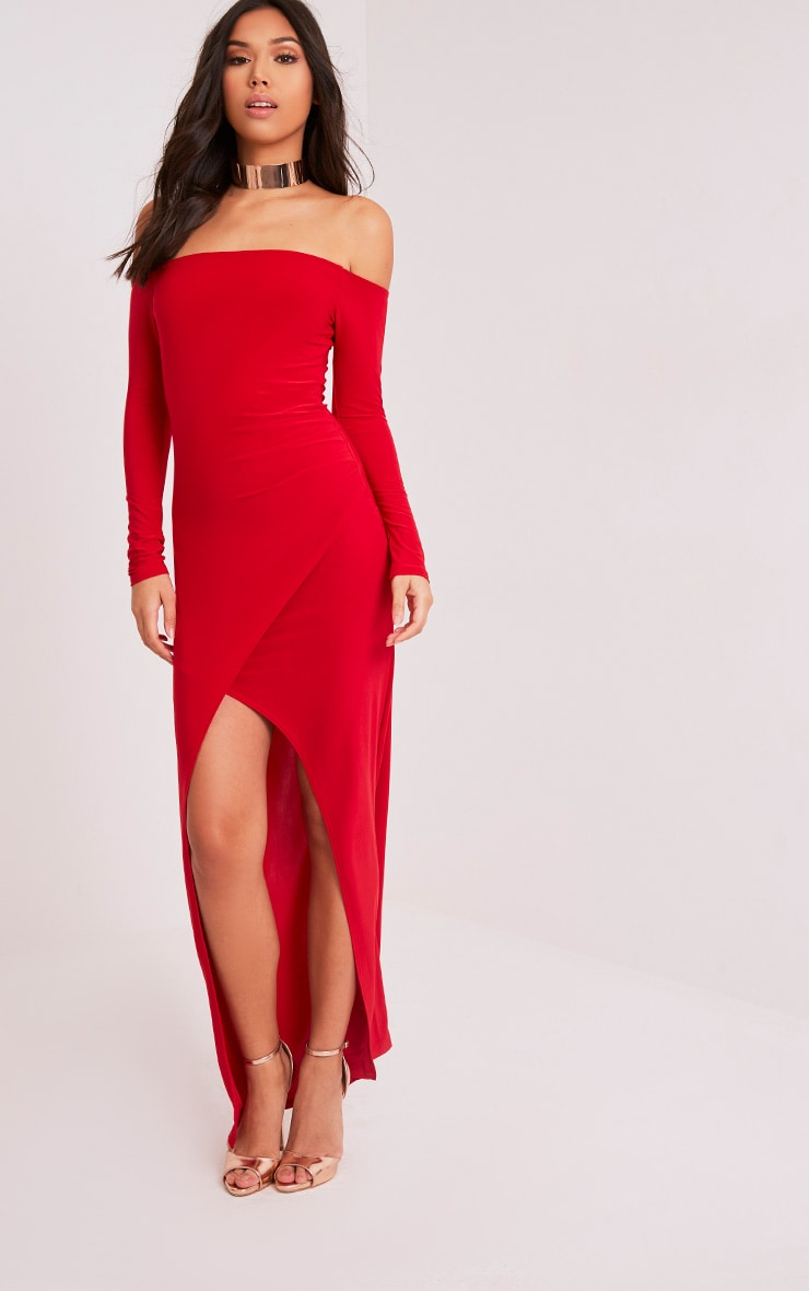 Sharlotte Red Slinky Wrap Bardot Maxi Dress 1